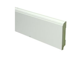 MDF Eigentijdse plint 90 MM x 15 MM wit voorgelakt. RAL 9010
