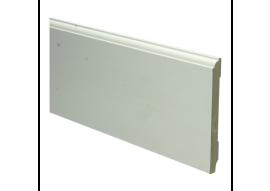 MDF Eigentijdse plint 120 MM x 12 MM wit voorgelakt. RAL 9010