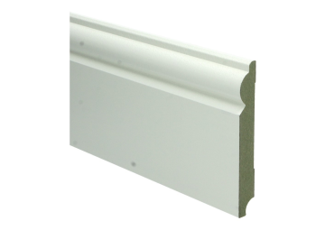 MDF Barok plint 120 MM x 15 MM wit voorgelakt. RAL 9010