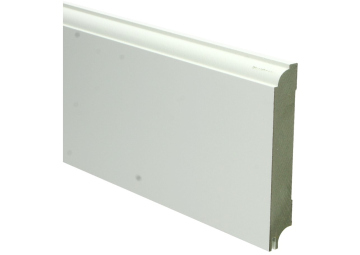 MDF Eigentijdse plint 115 MM x 18 MM wit gelakt met uitsparing. RAL 9010