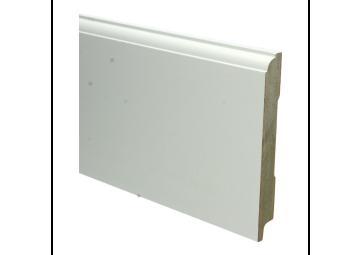 MDF Eigentijdse plint 150 MM x 18 MM wit voorgelakt. RAL 9010