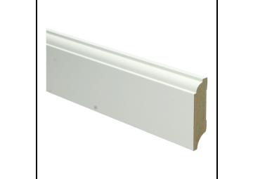 MDF Eigentijdse plint 70 MM x 18 MM wit voorgelakt. RAL 9010