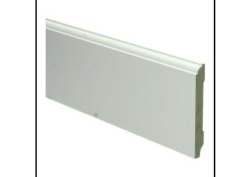 MDF Eigentijdse plint 90 MM x12 MM  wit voorgelakt. RAL 9010