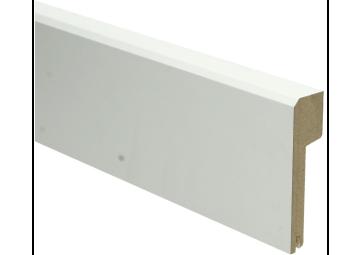 MDF Klassieke plint 85x22 wit gelakt met uitsparing. RAL 9010