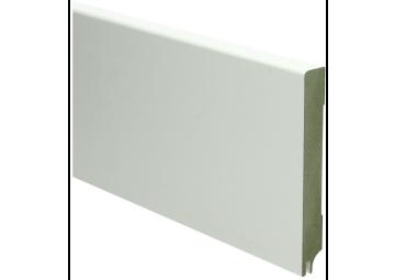MDF Moderne plint 120x15 wit gelakt met uitsparing. RAL 9010