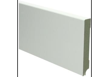 MDF Moderne plint 120x18 wit gelakt met uitsparing. RAL 9010