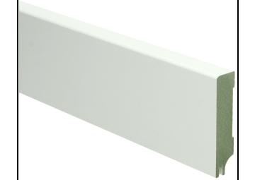 MDF Moderne plint 70x15 wit gelakt met uitsparing. RAL 9010
