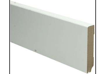 MDF Moderne plint 90x18 wit gelakt met uitsparing. RAL 9010