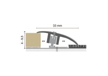 Overgangsprofiel Kuberit PVC klik 4-9,5 mm zilver