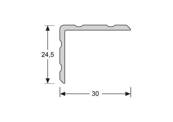 Duo-hoeklijnprofiel zelfkl. 24,5 x 30 mm RVS