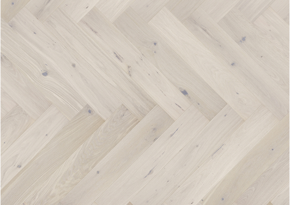 Eiken visgraat Lamelparket 13 cm rustiek white mat lak