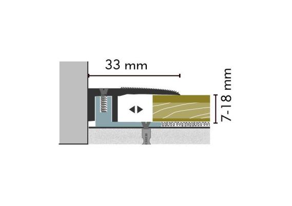 Eind-en afwerkprofiel Kuberit 7-18 mm zilver 1 mtr