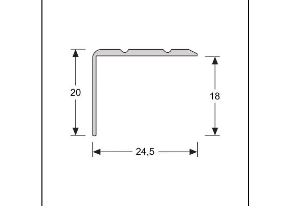 Hoeklijnprofiel zelfkl. 20 mm RVS
