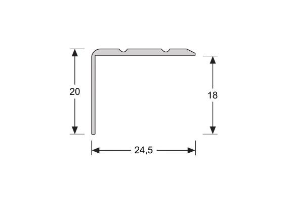 Hoeklijnprofiel zelfkl. 20 mm zilver