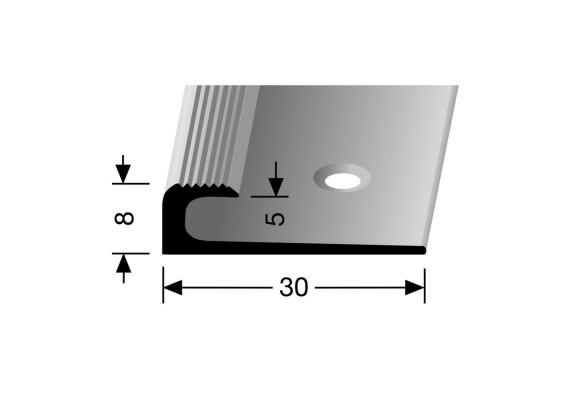 Inschuif eindprofiel 8mm tbv 5mm PVC zilver