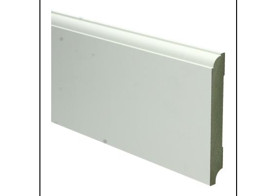 MDF Eigentijdse plint 120 MM x 15 MM wit voorgelakt. RAL 9010