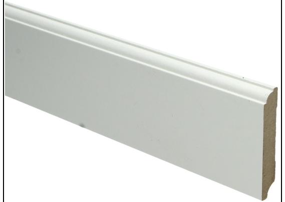 MDF Eigentijdse plint 70 MM x 12 MM wit voorgelakt. RAL 9010