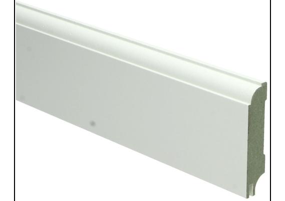 MDF Eigentijdse plint 70 MM x 15 MM wit gelakt met uitsparing. RAL 9010