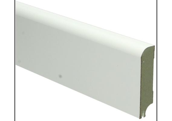 MDF Koloniale plint 76x18 wit gelakt met uitsparing. RAL 9010
