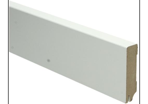 MDF Moderne plint 70x18 wit gelakt met uitsparing. RAL 9010