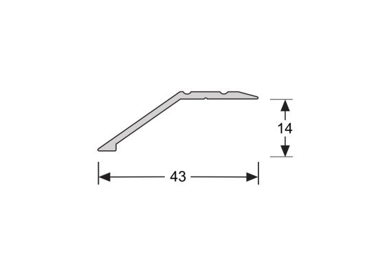 Overgangsprofiel schroef 14 mm alu RVS