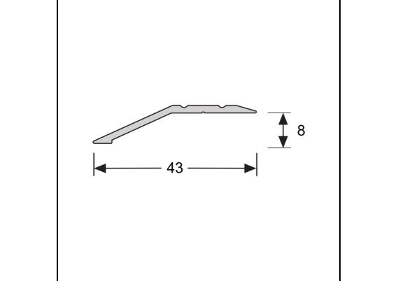 Overgangsprofiel zelfkl. 8 mm alu RVS